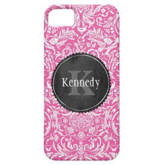 Monograma rosado de encargo de la pizarra del iPhone 5 protectores