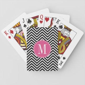 Monograma rosado de encargo de los galones blancos barajas de cartas