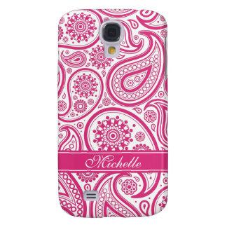 Monograma rosado de Fushia Paisley Funda Para Samsung Galaxy S4
