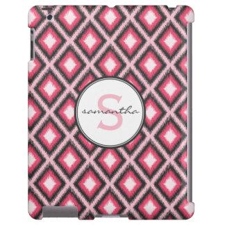 Monograma rosado de Ikat Funda Para iPad