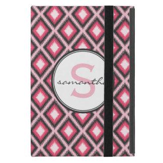 Monograma rosado de Ikat iPad Mini Cárcasas