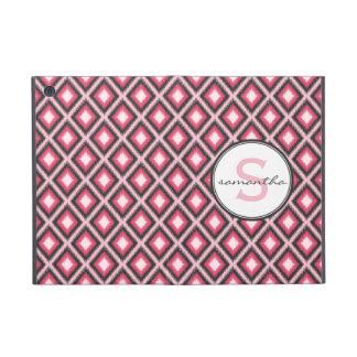 Monograma rosado de Ikat iPad Mini Fundas