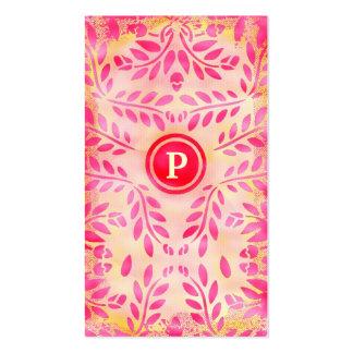Monograma rosado de la galleta del limón de la tarjetas de visita