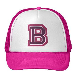 "Monograma rosado de la letra ""B"" Gorro"