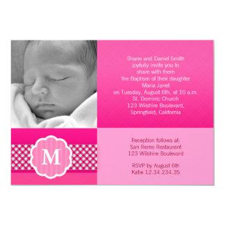 """Monograma rosado de la niña del bautismo invitación 5"""" x 7"""""""