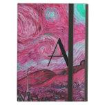 Monograma rosado de la noche estrellada