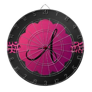 Monograma rosado de la raya del modelo del leopard tablero dardos