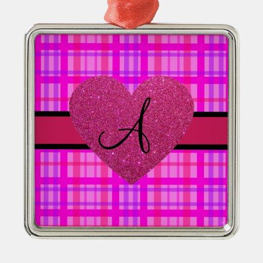 Monograma rosado de la tela escocesa adorno cuadrado plateado