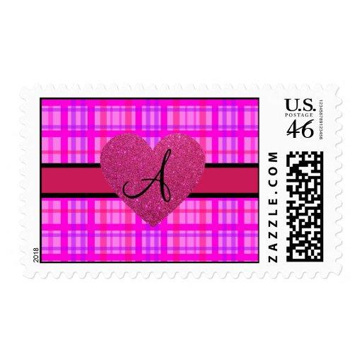 Monograma rosado de la tela escocesa envio