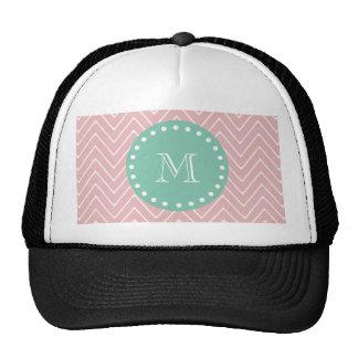 Monograma rosado de la verde menta del modelo el | gorras