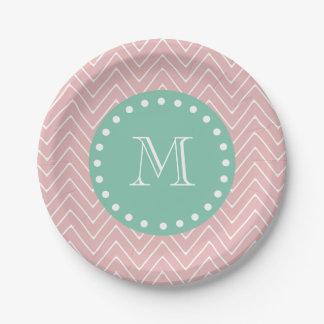 Monograma rosado de la verde menta del modelo el | plato de papel de 7 pulgadas