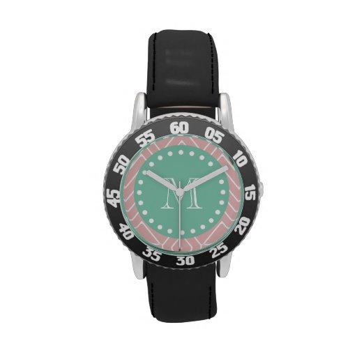 Monograma rosado de la verde menta del modelo el | relojes de mano