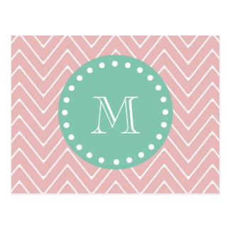 Monograma rosado de la verde menta del modelo el | tarjeta postal