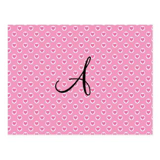 Monograma rosado de los corazones de los lunares postal