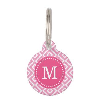 Monograma rosado de los diamantes de Ikat Placa De Mascota