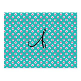 Monograma rosado de los lunares del corazón de la postal