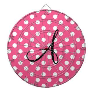 Monograma rosado de los lunares tabla dardos