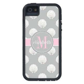 Monograma rosado de los Seashells de las cubiertas iPhone 5 Carcasa