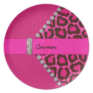 Monograma rosado de moda del leopardo y de la bisa plato para fiesta