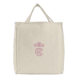 Monograma rosado de muy buen gusto con el bolso bolsa bordada