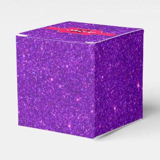Monograma rosado de neón en brillo púrpura cajas para regalos