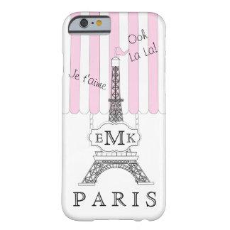 Monograma rosado del boutique de la torre Eiffel Funda De iPhone 6 Barely There