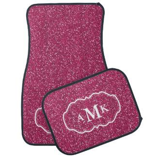 Monograma rosado del brillo de la chispa de Fuschi Alfombrilla De Coche