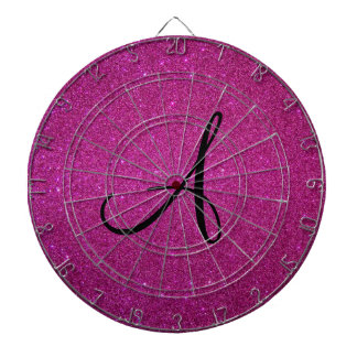 Monograma rosado del brillo tablero dardos