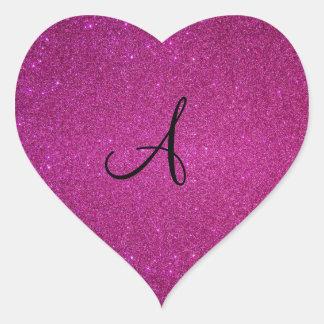 Monograma rosado del brillo pegatina en forma de corazón
