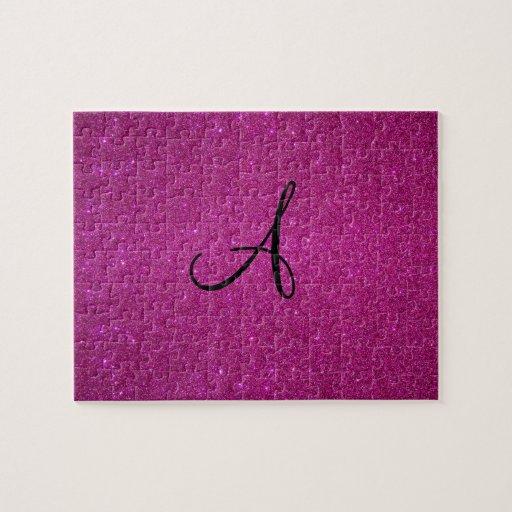 Monograma rosado del brillo puzzle con fotos