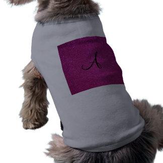 Monograma rosado del brillo camisas de perritos