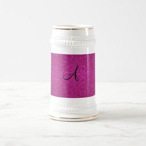 Monograma rosado del brillo taza