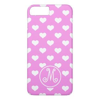 Monograma rosado del corazón de la polca funda iPhone 7 plus