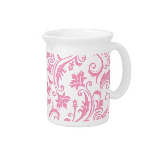 Monograma rosado del damasco jarras