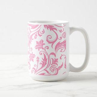 Monograma rosado del damasco tazas