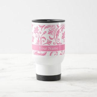 Monograma rosado del damasco taza de café