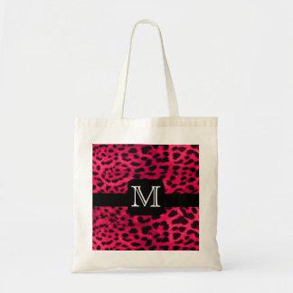Monograma rosado del leopardo bolsas de mano