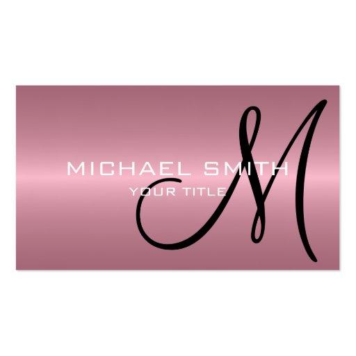 Monograma rosado del metal del acero inoxidable tarjetas de visita