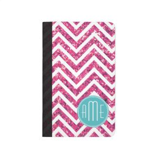Monograma rosado del personalizado del brillo y de cuadernos grapados