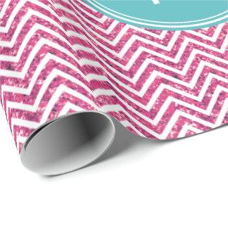 Monograma rosado del personalizado del brillo y de papel de regalo