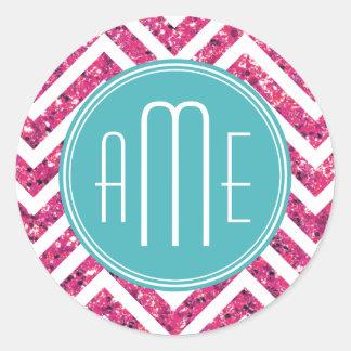 Monograma rosado del personalizado del brillo y de pegatina redonda