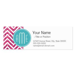 Monograma rosado del personalizado del brillo y de tarjetas de visita mini