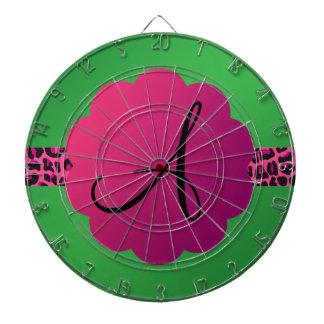 Monograma rosado del verde de la raya del modelo d tabla dardos