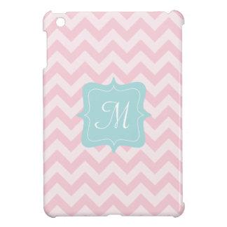 Monograma rosado del zigzag iPad mini carcasa