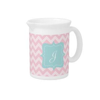 Monograma rosado del zigzag jarra para bebida