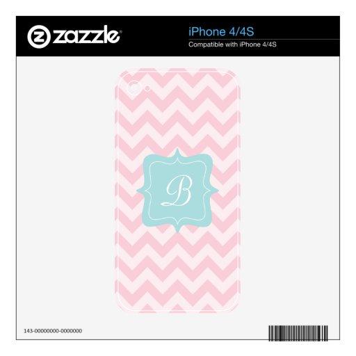 Monograma rosado del zigzag calcomanías para el iPhone 4