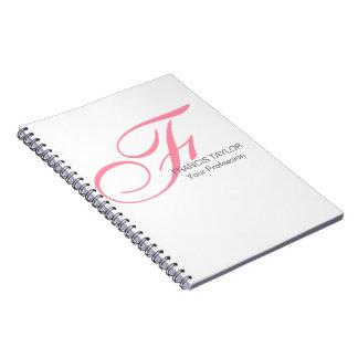 Monograma rosado elegante y moderno de encargo de libretas espirales