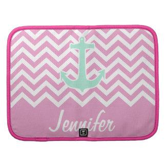 Monograma rosado femenino de la moda del ancla del planificador