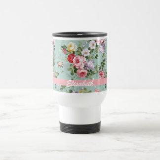 Monograma rosado femenino elegante de los rosas taza térmica