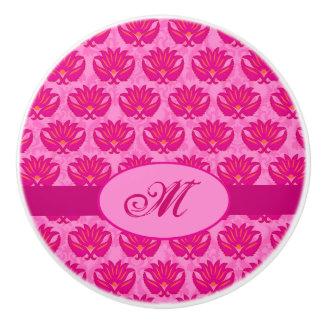 Monograma rosado fucsia del damasco de Nouveau del Pomo De Cerámica